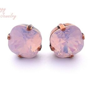 Swarovski Crystal Earrings, Rose Water Opal Studs.